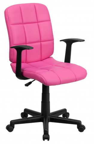 Pink Quilted Nylon Arm Task Chair