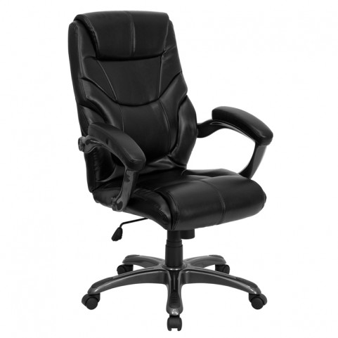 Tall Black Overstuffed Executive Office Chair