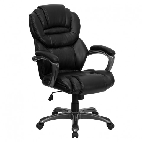 Tall Black Executive Office Chair W/ Padded Arms
