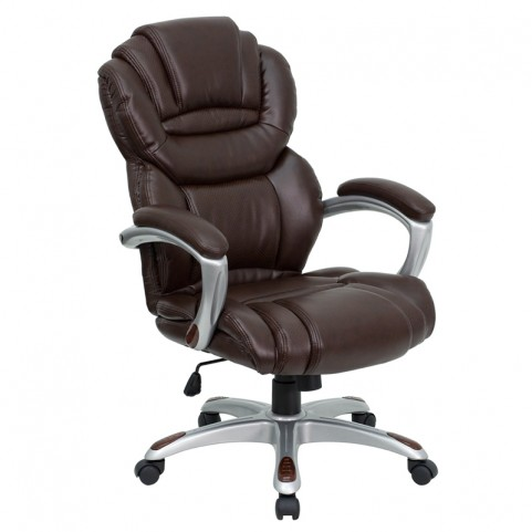 High Back Brown Executive Office Chair with Padded Arms