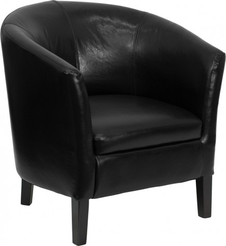 Black Leather Barrel Shaped Guest Chair With Black Wood Legs