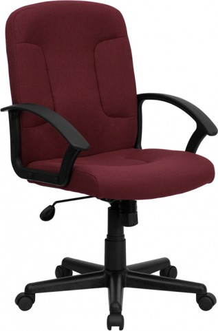 Burgundy Task and Computer Chair with Nylon Arms