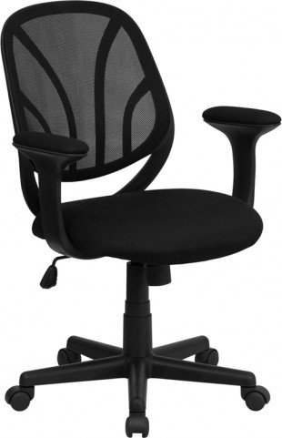 Black Mid-Back Computer Task Chair with Arms