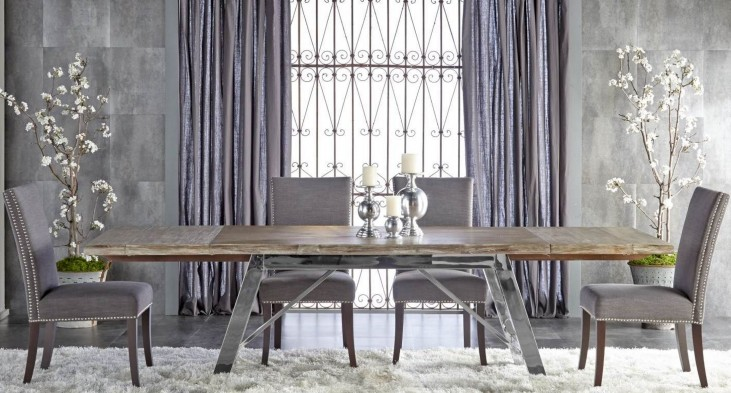 Grayson Gray Wash Rectangular Extendable Trestle Dining Room Set with Soho Dining Chairs