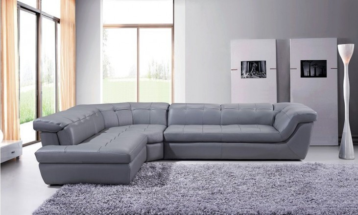 397 Grey Italian Leather RAF Chaise Sectional