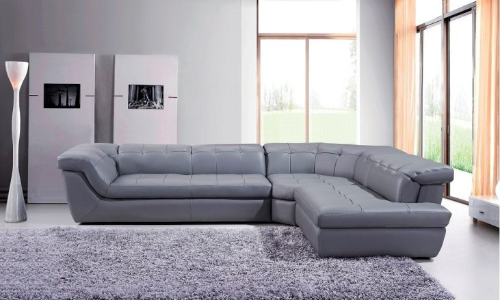 397 Grey Italian Leather LAF Chaise Sectional