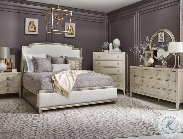 Artiste Glam Miles Powder Upholstered King Panel Bed