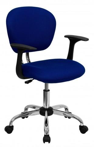 Mid-Back Blue Arm Task Chair