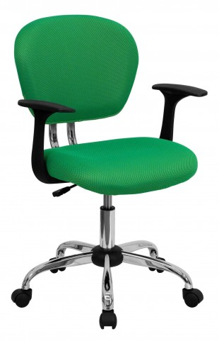 Mid-Back Bright Green Arm Task Chair