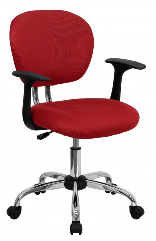 Mid-Back Red Arm Task Chair