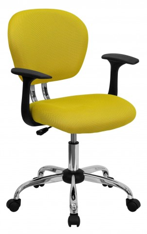 Mid-Back Yellow Arm Task Chair
