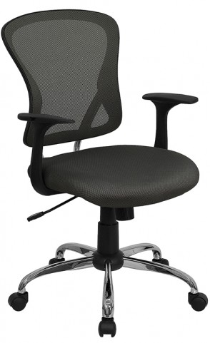 Mid-Back Dark Gray Office Chair with Chrome Finished Base