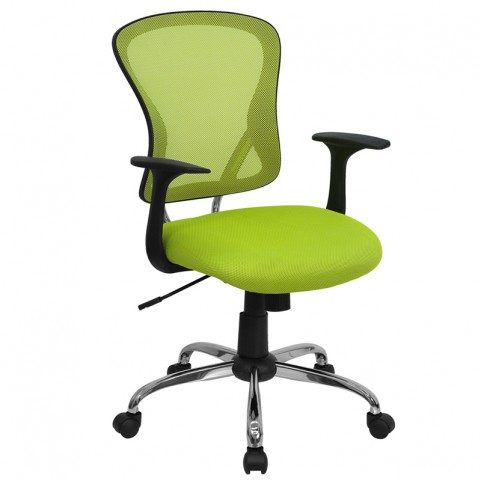 Mid-Back Green Office Chair with Chrome Finished Base