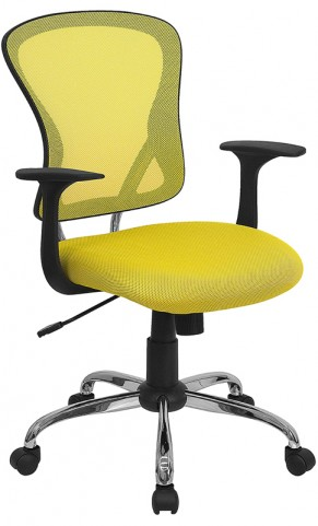 Mid-Back Yellow Office Chair with Chrome Finished Base