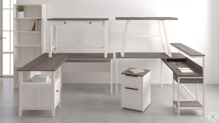 Dorrinson White and Brown Home Office Set