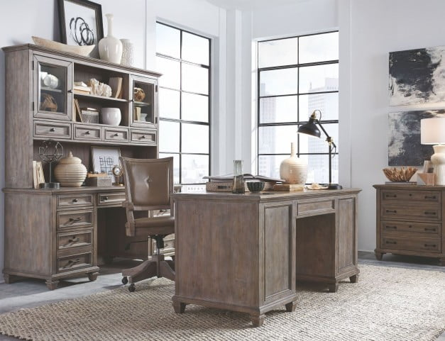 Lancaster Dove Tail Grey Executive Home Office Set From Magnussen Home    Coleman Furniture