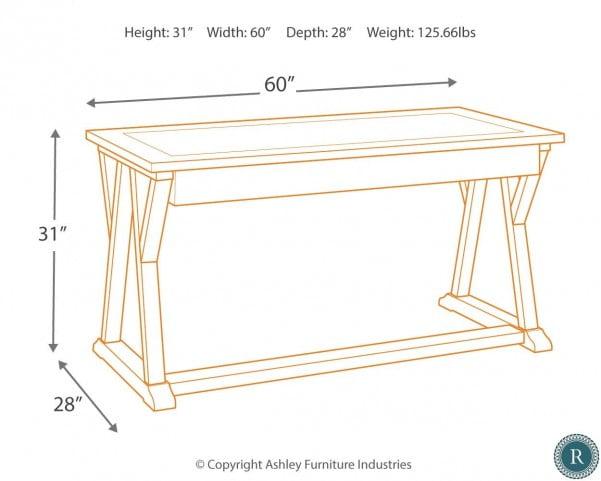 Jonileene White and Gray Home Office Large Leg Desk