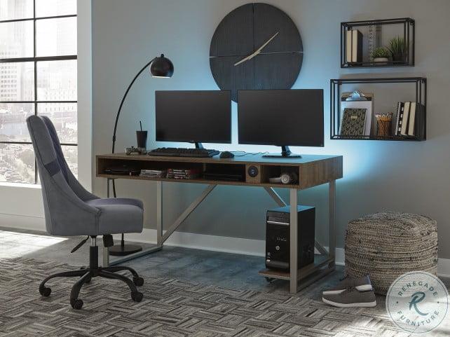 Barolli Gunmetal Gaming Desk With Usb Port