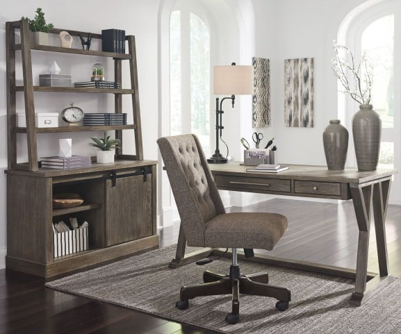 Luxenford Grayish Brown Home Office Large Leg Desk