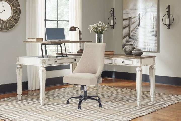 Realyn White And Brown Home Office Lift Top Desk