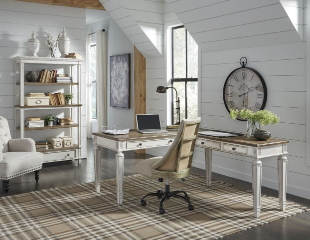 Realyn White and Brown Home Office L Desk