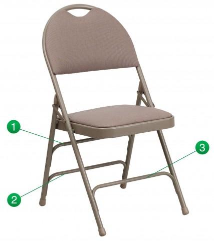 Hercules Series Ultra-Premium Beige Fabric Folding Chair