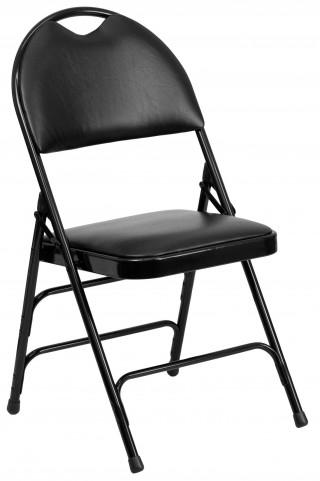 Hercules Series Ultra-Premium Black Vinyl Metal Folding Chair