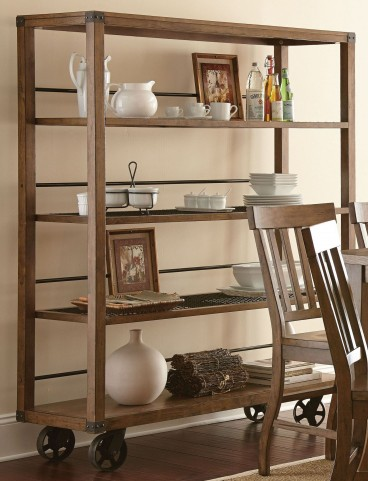 Hailee Antique Oak Curio with casters