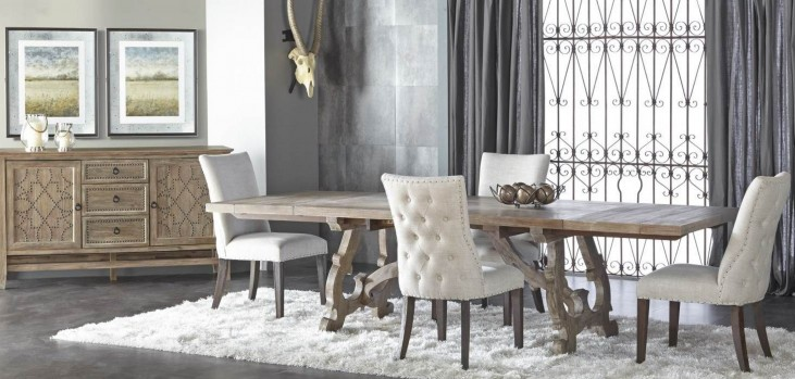 Haute Gray Wash Rectangular Extendable Trestle Dining Room Set with Lourdes Dining Chairs