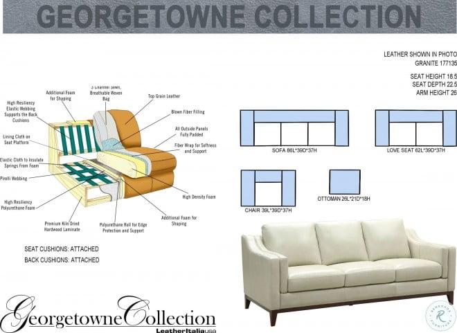 Marvelous Georgetowne Helena Granite Leather Sofa Cjindustries Chair Design For Home Cjindustriesco