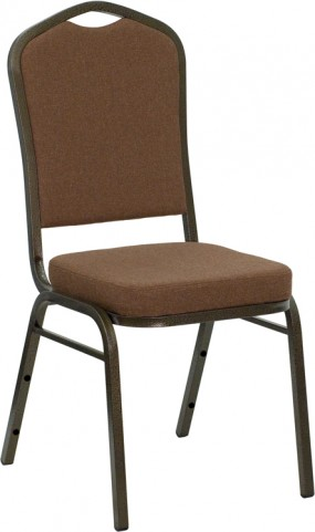 Hercules Series Crown Back Stacking Coffee Fabric Banquet Chair