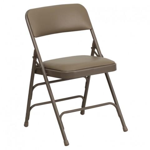 Hercules Series Curved Beige Vinyl Folding Chair