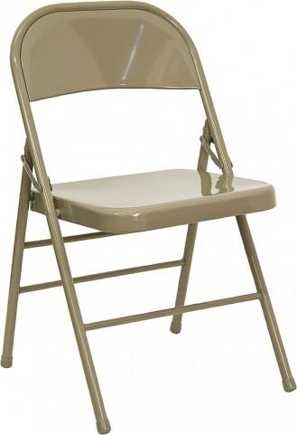 Hercules Triple Braced & Quad Hinged Beige Metal Folding Chair