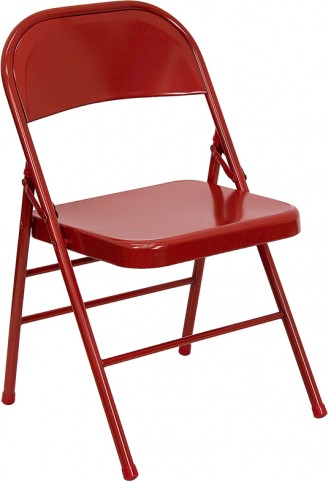 Hercules Triple Braced & Double Hinged Red Metal Folding Chair