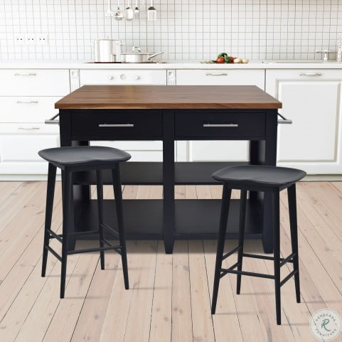 Hilton Black Counter Height Extendable Kitchen Island Set