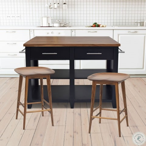 Hilton Black Counter Height Extendable Kitchen Island