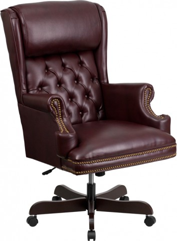 J600-BY High Back Tufted Burgundy Leather Executive Office Chair