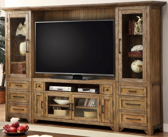 Hunts Point Vintage Weathered Pine Entertainment Wall