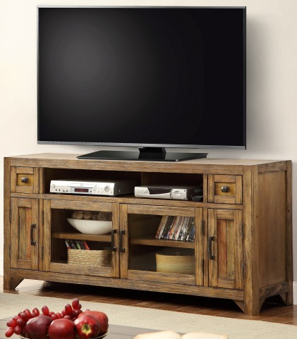 """Hunts Point Vintage Weathered Pine 63"""" TV Console With Power Center"""