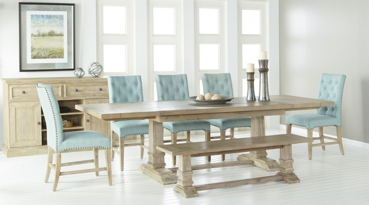 6015.SW Hudson Stone Wash Rectangular Extendable Trestle Dining Room Set with Wilshire Dining Chairs 6015.SW