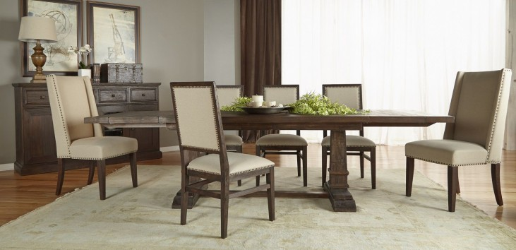 Hudson Rustic Java Rectangular Extendable Trestle Dining Room Set with Dexter Chair Sets
