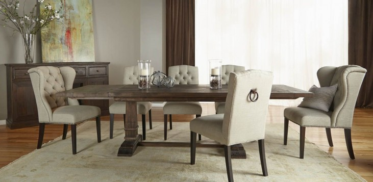 Hudson Rustic Java Rectangular Extendable Trestle Dining Room Set with Graham Dining Chairs
