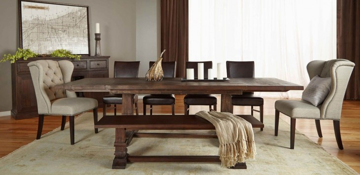Hudson Rustic Java Rectangular Extendable Trestle Dining Room Set with London Dining Chairs