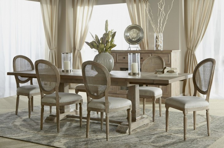 Hudson Stone Wash Rectangular Extendable Trestle Dining Room Set with Oliver Dining Chairs