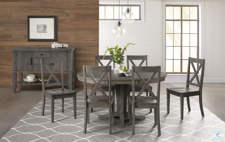 Huron Distressed Gray Extendable Round Dining Room Set