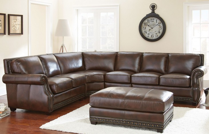 Henry Antique Tobacco Leather Sectional