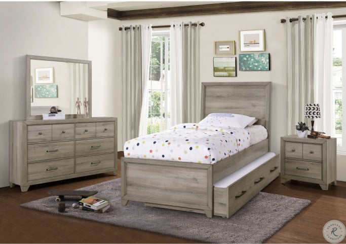 River Creek Birch Brown Full Panel Bed With Trundle
