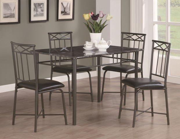 1036 Grey Marble / Charcoal Metal 5Pcs Dining Set