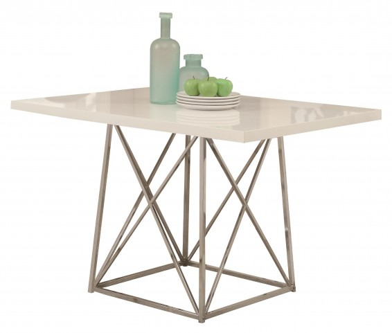 1046 White Glossy / Chrome Metal Dining Table