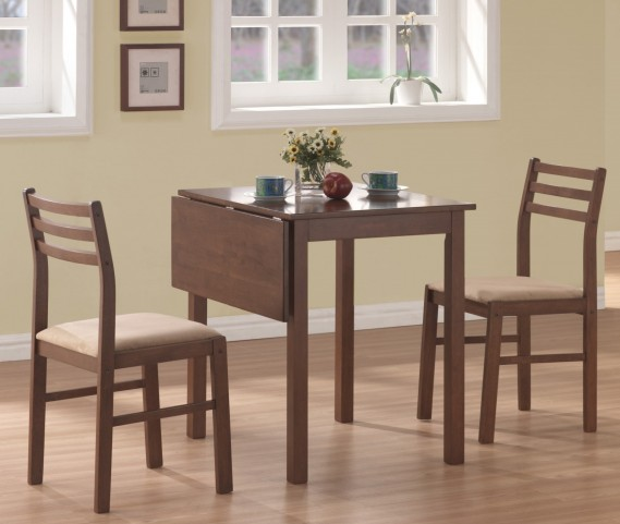 1079 Walnut 3 Piece Drop Leaf Extendable Dining Set